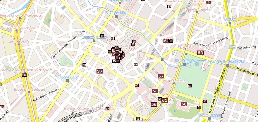 Brüssel Sehenswürdigkeiten Karte.Stadtplan Brüssel Hotelbuchung Und Attraktionen